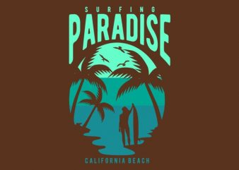 Surfing Paradise California Beach commercial use t-shirt design