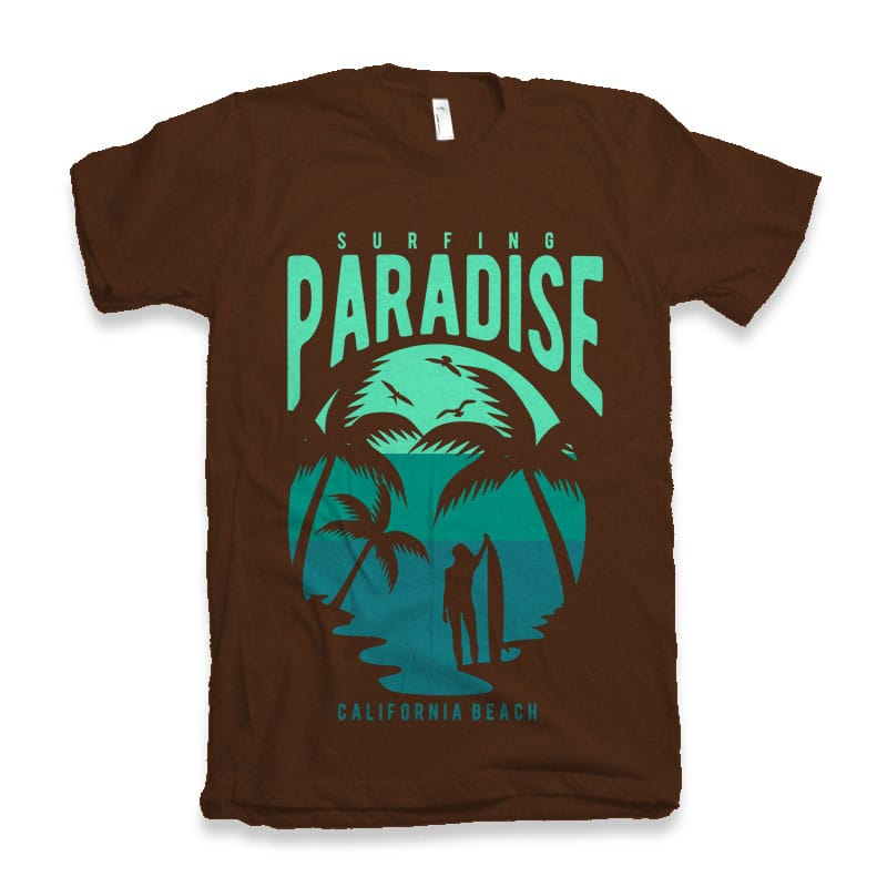 Surfing Paradise California Beach commercial use t shirt designs
