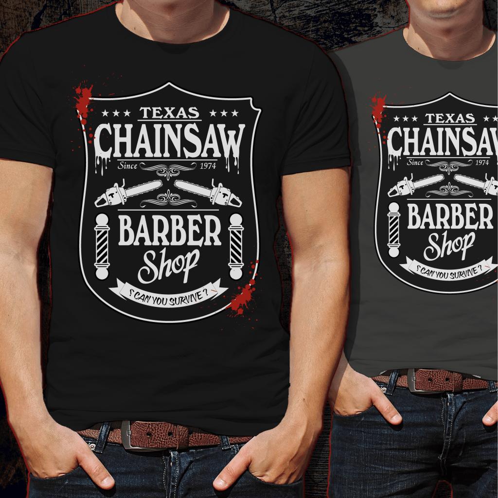 Texas Chainsaw Barber Tshirt Design t shirt designs for printify