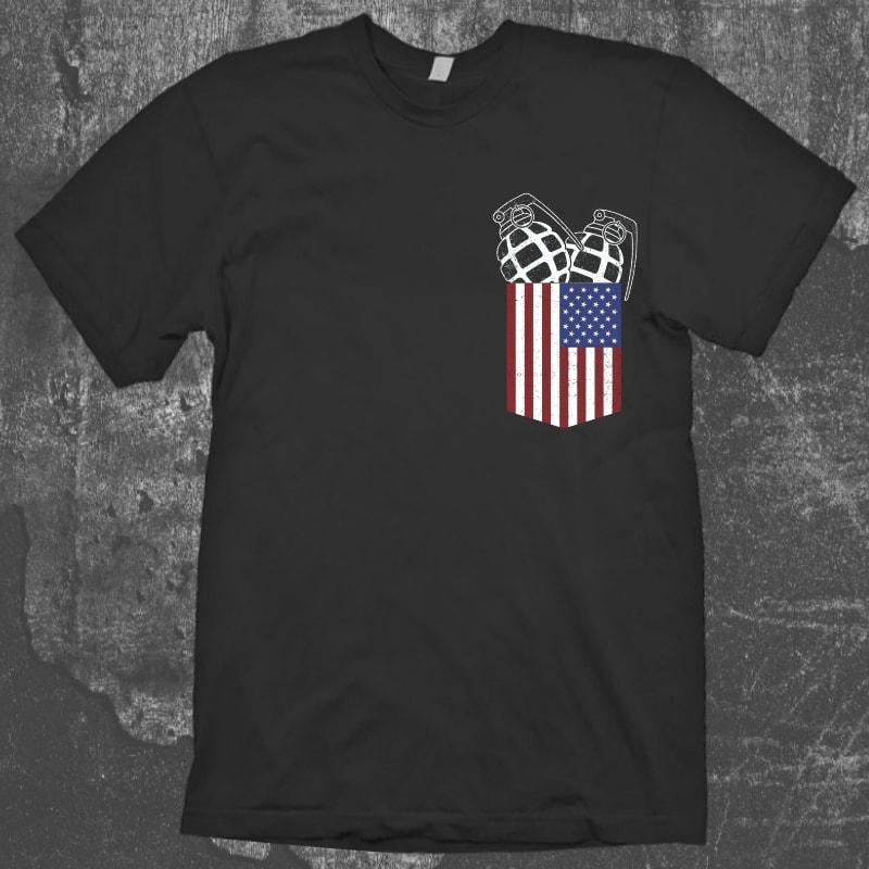 USA Pocket Granade tshirt design for sale