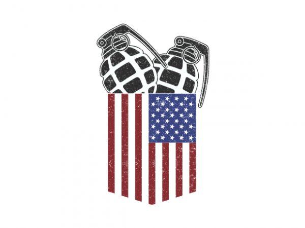 USA Pocket Granade t shirt vector graphic