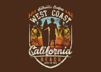 West Coast California Beach t shirt design for sale