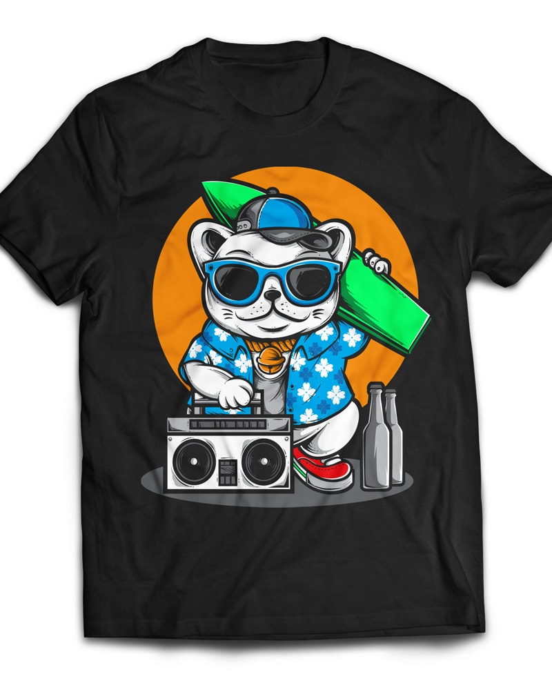 Surfing Cat vector t shirt design