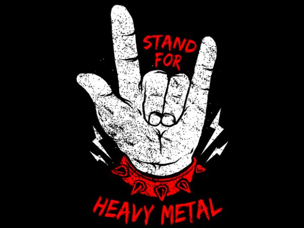 Stand up Heavy Metal t shirt template vector