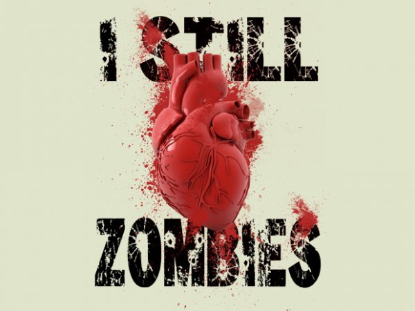 I Love Zombies t shirt design for sale