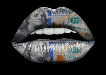 Dollar Lips t-shirt design for sale
