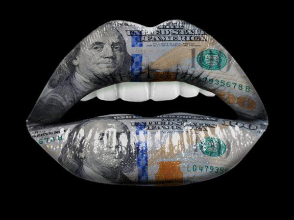 Dollar Lips t-shirt design for sale
