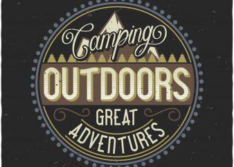 Camping label tshirt design vector