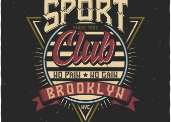 Sport Club Label t shirt template vector
