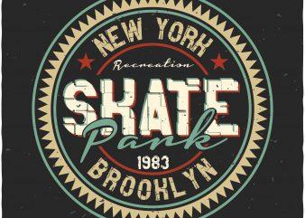 Skate park label print ready shirt design