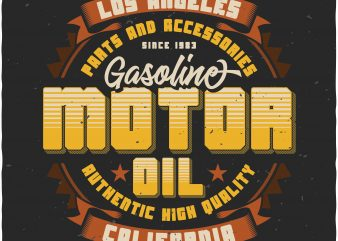 Motor Oil label t shirt designs for sale
