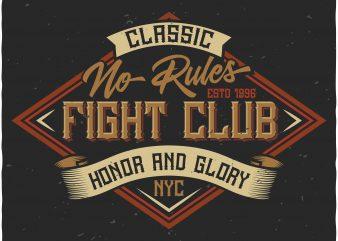 Fight Club Label vector shirt design