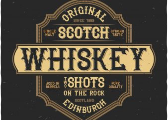 Whiskey label t shirt design for sale