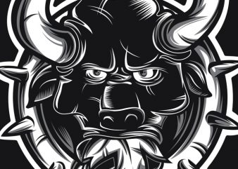 Crazy Bull t shirt vector file