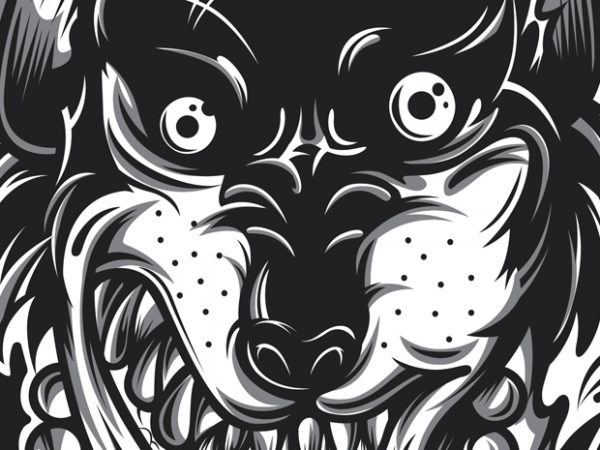 Crazy Wolf t shirt vector file