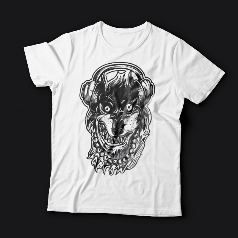 Crazy Wolf t shirt designs for print on demand