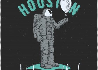 Astronaut with airballoon buy t shirt design