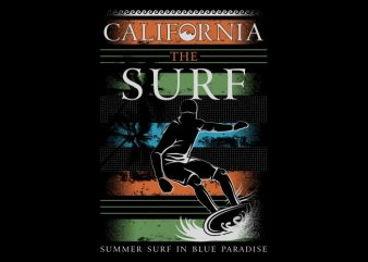 California The Surf t shirt vector file