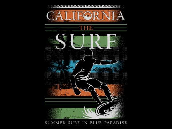 California The Surf tshirt design vector
