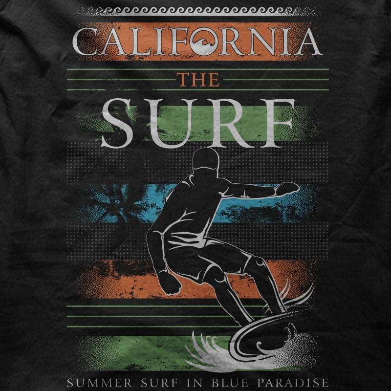 California The Surf t shirt design graphic