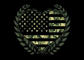 Camo Flag Heart t shirt vector file