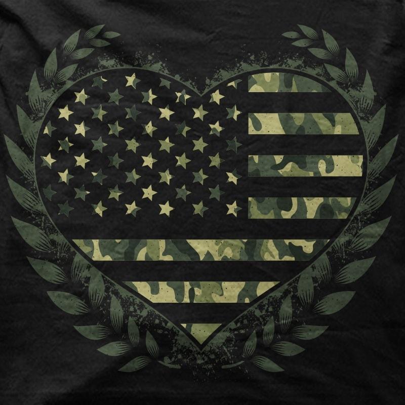 Camo Flag Heart t shirt designs for merch teespring and printful