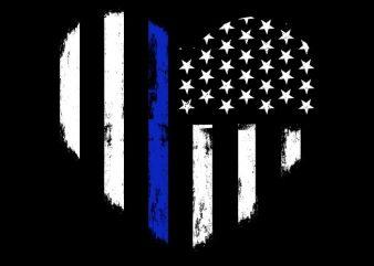 Love Thin Blue Line t shirt vector graphic