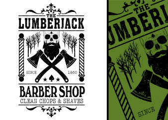 Lumberjack Barber Shop Tshirt Design