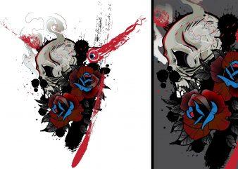 Skulls and Roses Tshirt Design