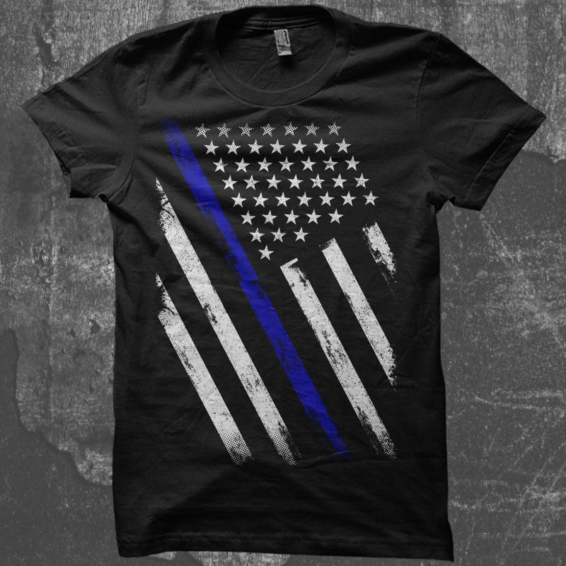 Thin Blue Line Flag t-shirt designs for merch by amazon