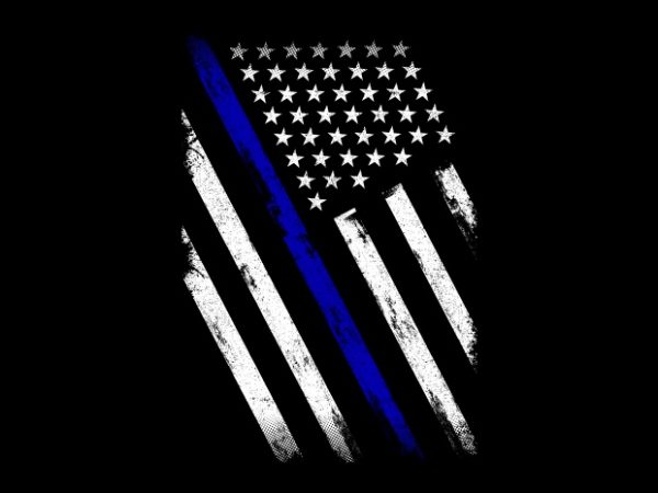 Thin Blue Line Flag vector t-shirt design for commercial use