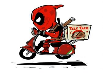 Deadpool Scooter t shirt vector illustration
