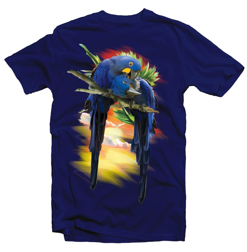 Blue Macaw tshirt design for merch by amazon