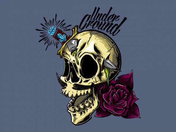 Skull Underground t shirt template vector
