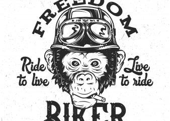 Monkey Biker t shirt designs for sale