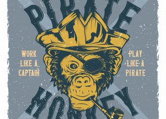 Monkey Pirate t shirt designs for sale