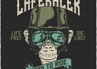 Monkey Caferacer t shirt designs for sale