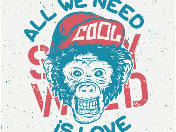 Monkey Cool tshirt design vector