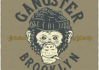 Monkey Gangster t shirt designs for sale