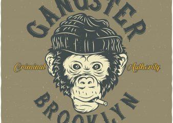 Monkey Gangster t shirt design for purchase