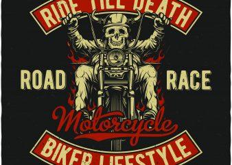 Biker lifestyle t shirt template