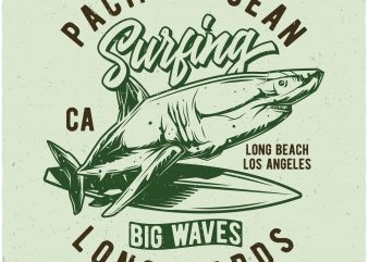 Pacific Ocean surfing vector t-shirt design for commercial use