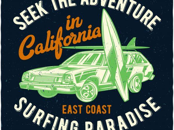 Surfing paradise tshirt design vector