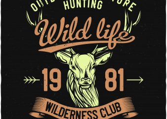 Wild life hunting t shirt design for purchase