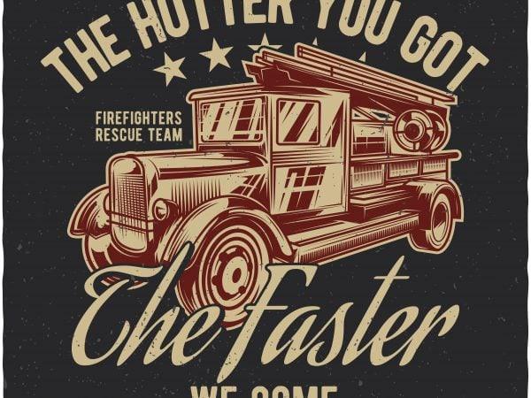 Firetruck print ready shirt design