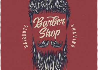 Barbershop print ready vector t shirt design