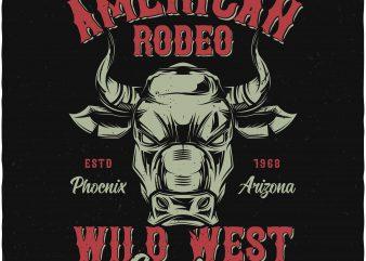 American rodeo print ready vector t shirt design