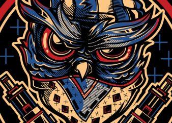 SWG Gangsta Owl t shirt template vector