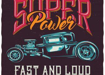 Super power t shirt template vector