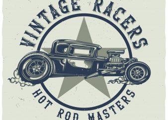 Hot rod masters tshirt design vector